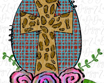 Red Plaid Leopard Cross Floral Egg PNG Transfer Flowers Leopard Hand Drawn DIGITAL DOWNLOAD Easter Blue Plaid
