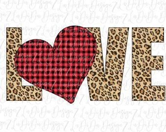 Leopard LOVE Buffalo Plaid Heart PNG Digital Download Stitch Heart