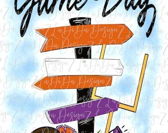 Game Day Orange Purple Direction Signs PNG Digital Download Tailgate Football Megaphone Pom Pom Goal