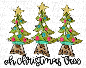 Oh Christmas Tree Three Trees with Stars on Leopard Tree Trunk -  SUBLIMATION Transfer - Hand Drawn - Colorful