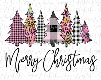 Merry Christmas Trees All Pink VINYL Transfers with Mask HTV Iron On Plaid Leopard Check Pink