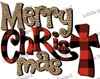 Merry Christ Mas Plaid Leopard VINYL Transfers Merry ChrisTmas  TTD MaskHTV HTV Decal Iron On