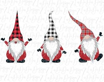 Christmas Plaid Gnomes DIGITAL DOWNLOAD - PNG Buffalo Plaid Black White Plaid Christmas Plaid Silver Glitter Beards