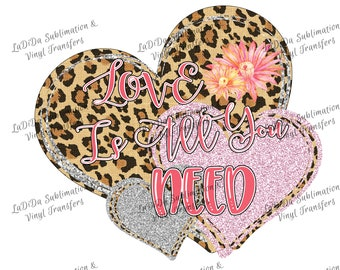 Love Is All You Need Leopard Silver and Pink Glitter Heart PNG PDF Digital Download Glitter Flowers