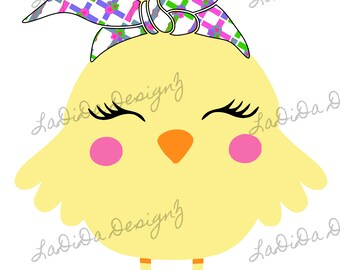 Easter Chick Crosses Hair Tie Cow Sublimation Transfer Pink Green Bandana
