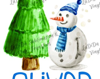 Personalized Watercolor Snowman with Christmas Tree Sublimation Transfers Blue Scarf Hat Kid Child Watercolor