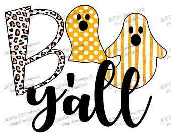 Boo Y'all Ghost Halloween Leopard Polka Dot Striped Fall Sublimation Transfers PNG PDF Digital Download