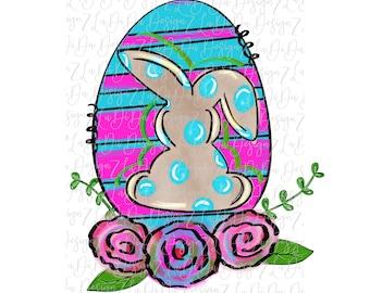 Bunny Egg Floral VINYL Transfer HTV Mask Colorful Flowers Hand Drawn Polka Dots Stripes Pink Blue Green