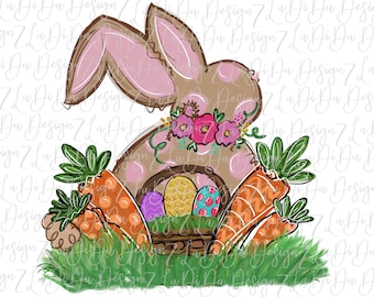 Easter Bunny Polka Dots Floral Ring Carrots Easter Basket Eggs Watercolors SUBLIMATION Transfer Colorful Carrot Flowers