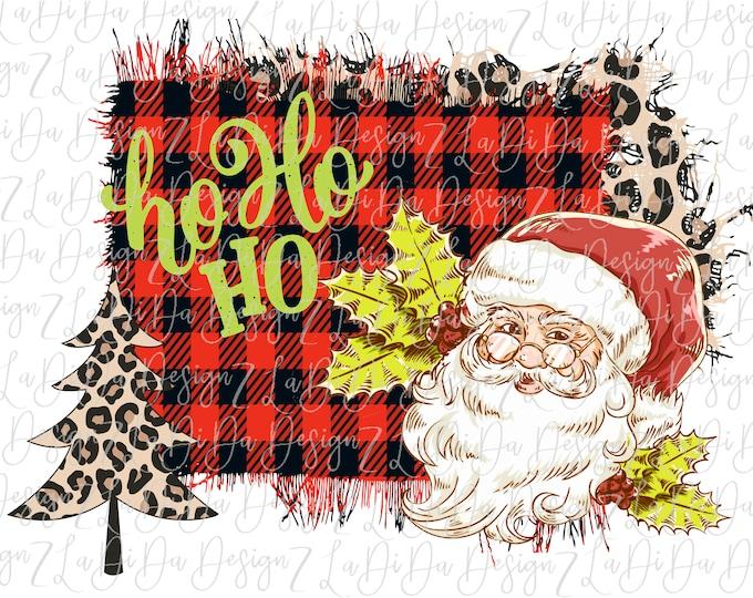 Featured listing image: HoHoHo Retro Santa Buffalo Plaid Leopard SUBLIMATION TRANSFER Leopard Christmas Tree Santa Glasses