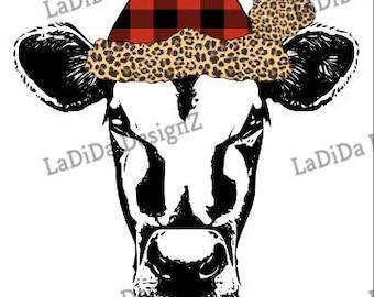 Merry Christmas Cow Plaid Leopard Hat Sublimation Transfers - Christmas Buffalo Plaid Leopard
