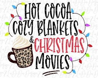 Hot Cocoa Cozy Blankets & Christmas Movies VINYL Transfer MaskHTV Iron On -  Christmas Lights Leopard Cocoa Mug