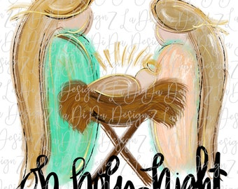 Oh Holy Night Baby in Manger -  SUBLIMATION Transfer - Hand Drawn - Jesus Birth Mary Joseph