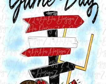 Game Day Red Black Direction Signs PNG Digital Download Tailgate Football Megaphone Pom Pom Goal