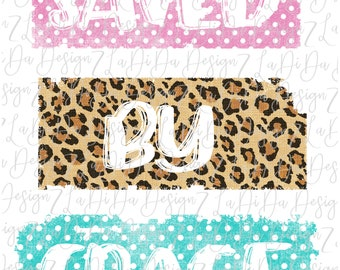 Saved By Grace Leopard and Polka Dots SUBLIMATION Transfer Pink Green Leopard