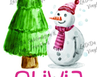 Personalized Watercolor Snowman with Christmas Tree Sublimation Transfers Scarf Hat Pink Kid Child Watercolor