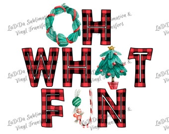 Oh What Fun Buffalo Plaid VINYL Transfers - Wreath Christmas Tree Candy Candy Cane HTV  Iron On