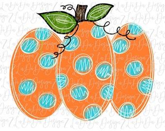 Orange Blue Dot Pumpkin Halloween Fall SUBLIMATION Transfers Polka Dots