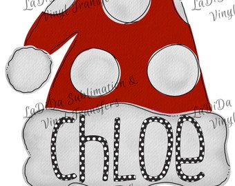 Personalized Polka Dot Watercolor Kids Santa Hat Sublimation Transfers Girl