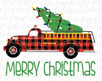 Merry Christmas Fire Truck with Christmas Tree in Back VINYL Transfers with Mask HTV Iron On Buffalo Plaid Christmas Lights