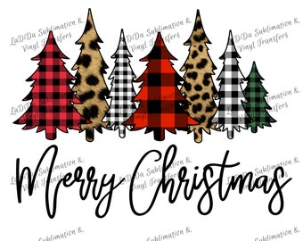 Merry Christmas Trees Plaid Leopard Check Sublimation Transfers Red Green Black Leopard