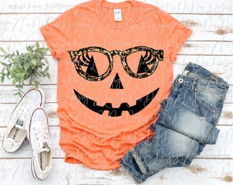 Pumpkin Face Wearing Leopard Glasses PNG PDF Digital Download Lashes Jack O Lantern
