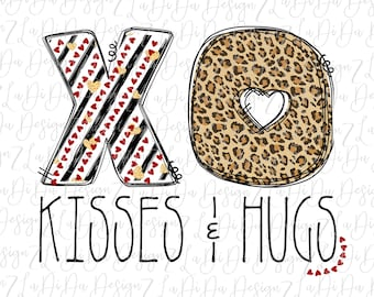 XO Kisses and Hugs PNG Digital Download Black Stripes Gold Hearts Leopard Heart Red Hearts