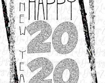 Happy New Year 2020 Silver Glitter Look and Black Speckles DIGITAL PNG File and Transparent File Frame