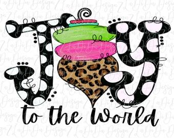 Joy To The World VINYL Transfer - Leopard Pink Green Ornament Black White Polka Dots HTV  Iron On