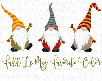 Fall Is My Favorite Color Gnomes DIGITAL Download Design PNG Stripes