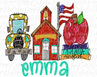 Personalized School Bus House Apple Books Flag SUBLIMATION  Transfers School Bus School House Apple Books Flag Back To School Hand Drawn