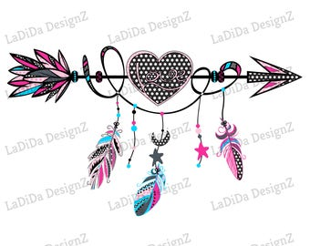Boho Love Heart Arrow Pink Blue Black Polka Dots with Hanging Feathers Sublimation Transfers