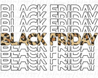 Black Friday Leopard Shopping SUBLIMATION Transfers Stacked Repeat