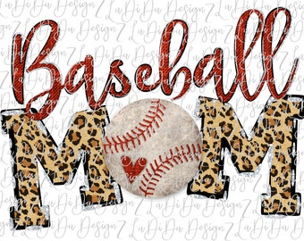Baseball Mom Leopard and Red SUBLIMATION Transfer Baseball with Heart
