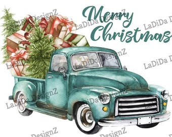 Vintage Blue Christmas Tree Truck Presents Load Sublimation Transfers Merry Christmas