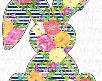 Floral Striped Bunny PNG Digital Download Watercolor Flowers Stripes Colorful Easter