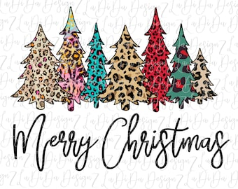 Merry Christmas Trees All Leopard SUBLIMATION Transfers Red Blue Green Pink Leopard