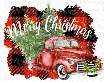 Merry Christmas Buffalo Plaid Vintage Red Truck With Wreath and Trees SUBLIMATION Transfer - Red Black Buffalo Plaid Frame
