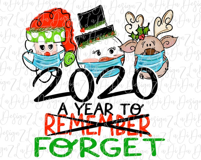 Featured listing image: 2020 A Year To Forget Santa Snowman Reindeer Wearing Masks SUBLIMATION Transfer