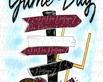 Game Day Maroon Black Direction Signs PNG Digital Download Tailgate Football Megaphone Pom Pom Goal