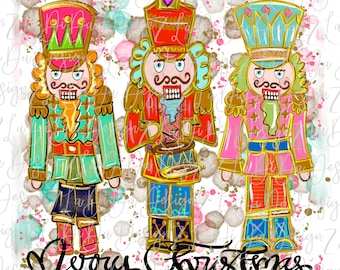 Three Colorful Merry Christmas Nutcrackers -  SUBLIMATION Transfer - Hand Drawn