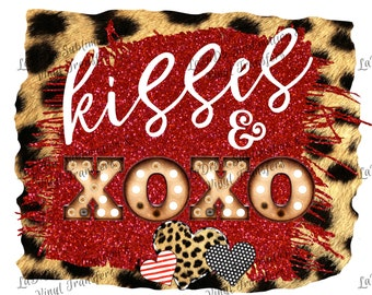 Kisses & XOXO Marquee Leopard Furry and Red Glitter Frame PNG PDF Digital Download Stripes Glitter Dots