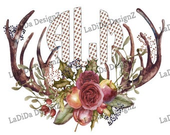 Monogrammed Christmas Antlers Sublimation Transfers - Monogram Floral Bouquet Flowers