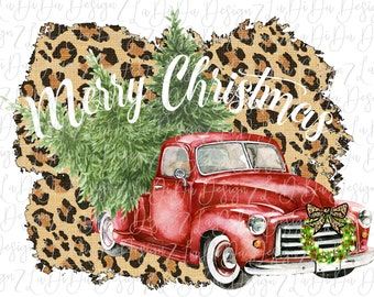 Merry Christmas Leopard Vintage Red Truck With Wreath and Trees SUBLIMATION Transfer - Leopard Frame