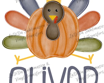 Personalized Colorful Pumpkin Turkey VINYL Transfers Thanksgiving Kid Child  with Mask WatercolorHTV HTV  Iron On