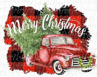 Merry Christmas Red Vintage Truck on Buffalo Plaid VINYL Transfer Christmas Wreath Christmas Trees HTV  Iron On