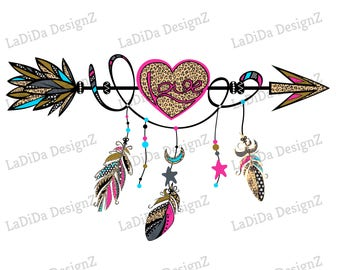 Boho Love Heart Arrow Hot Pink Blue Leopard with Hanging Feathers Sublimation Transfers Gold Leopard