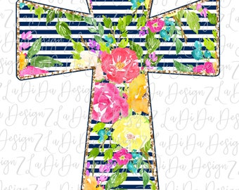 Floral Striped Cross PNG Digital Download Watercolor Flowers Stripes Colorful Easter