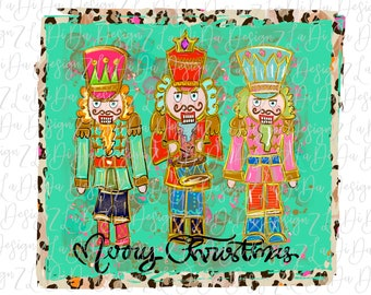 Merry Christmas Nutcrackers with Leopard Border   - VINYL Transfer MaskHTV Iron On - Hand Drawn - Very Colorful