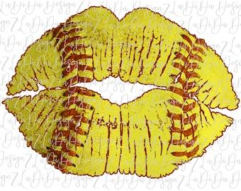 Softball Stitch Lips VINYL Transfer HTV  Iron On Softball Red Stitches Yellow